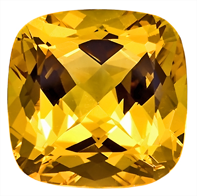 Warm, Rich Color Yellow Beryl Large Gemstone, Antique Cushion Cut, 15.3 x 15.2 mm, 14.21 carats
