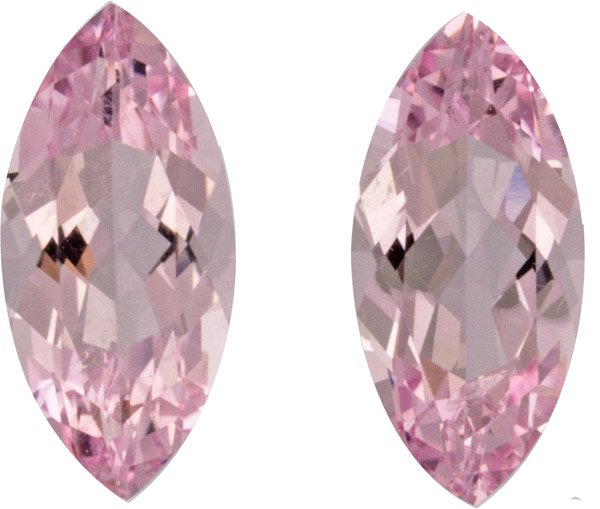 Matched 3.02 carats Pink Morganite Pair in Marquise Cut, Rare Shape in Calibrated 12.0 x 6.0 mm