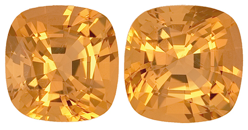 Well Matched Antique Cushion Golden Orange Precious Untreated Topaz Pair, 7.8mm, 5.07 carats