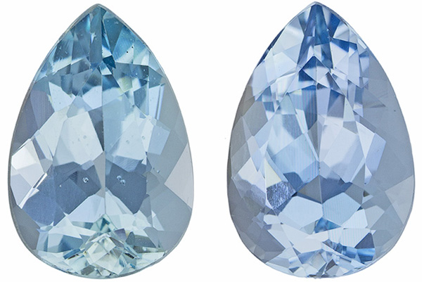 Well Matched Aquamarine Well Matched Pair in Pear Cut, Vivid Rich Blue, 10 x 6.7 mm, 3.3 carats