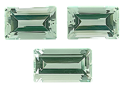 Well Matched Beautiful Three Piece Suite of Green Beryl Unheated Gemstones from Nigeria, Octagon Cut, 15.1 x 9.8 mm, 19 x 10.9 mm, 27.33 carats