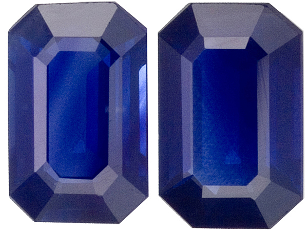 Well Matched Medium Rich Blue Sapphire Pair, 6 x 3.85 mm, Emerald  Cut, 1.26 carats