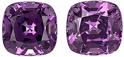 Well Matched Pair of Unheated Lovely Purple Spinel Gems from Tanzania, Cushion Cut, 2.57 carats