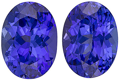 Well Matched Tanzanite Pair in Rich Blue Purple, 9.4 x 6.8 mm, Oval Cut, 4.48 carats