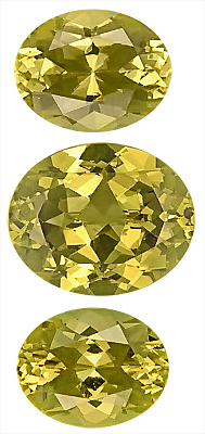 Well Matched Three Piece Suite, Yellow Grossular Garnet Gemstones Great Find! Oval Cut, 10.9 x 8.5 mm, 12.4 x 10.8 mm, 13.77 carats