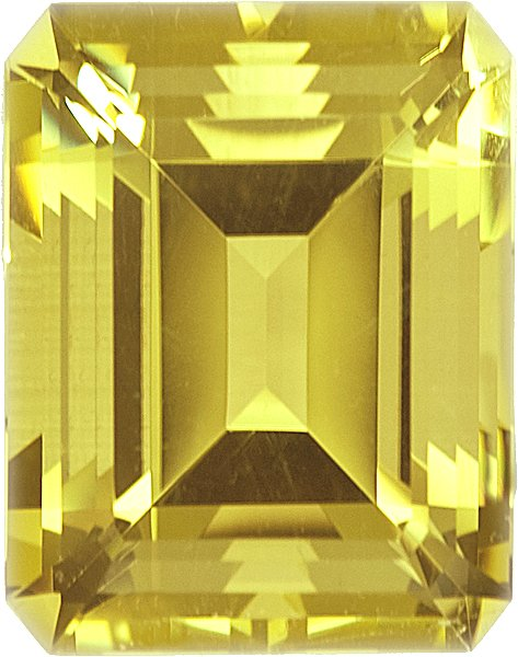 Well Saturated Octagon Shape Deep Yellow No Heat Beryl, 24.0 x 20.3mm, 46.4 carats