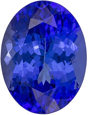 Well Saturated Tanzanite Loose Gem in Oval Cut, Intense Blue, 9.4 x 7.1 mm, 2.55 carats