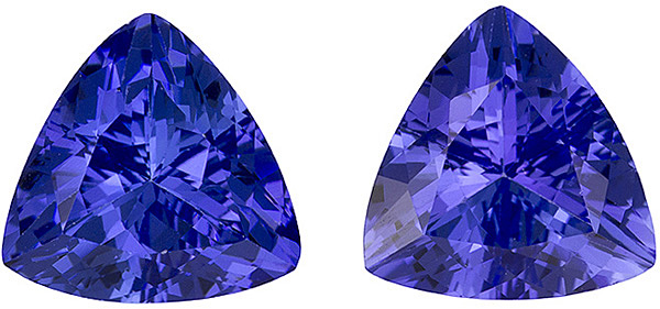 Well Saturated Tanzanite Pair in Rich Purple Blue Color, 7.5 mm, Trillion Cut, 2.79 carats