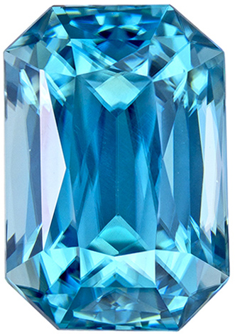 Well Saturated Zircon Loose Gemstone in Radiant Cut, Rich Medium Blue, 8.9 x 6.1 mm, 3.3 carats
