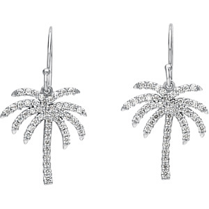 What a Deal! - Tropical 1/2 ct tw Diamond Palm Tree Earrings expertly set in 14 karat White Gold for SALE - 1.30mm stones