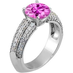 What a Ring! - Genuine Large Hot Gem 7mm Pink Sapphire Engagement Ring With Dazzling Faux Pave Diamond Accents
