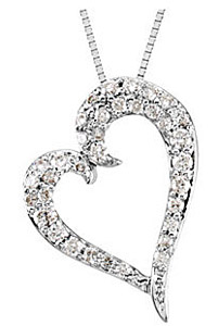 Whimsical 1/4ct Heart Diamond Pendant in 14k White Gold for SALE - FREE Chain