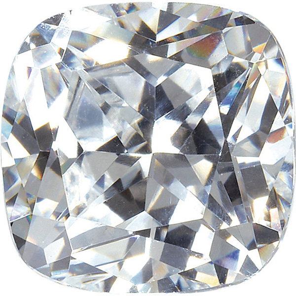 Loose Quality Faceted Colorless Cubic Zirconia Gem in Antique Square Shape Sized 6.00 mm