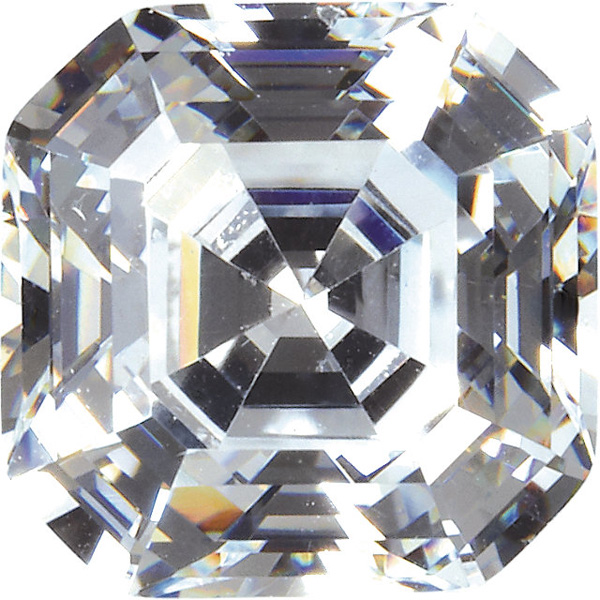 Quality Loose Genuine Faceted Colorless Cubic Zirconia in Asscher Shape Sized 4.50 mm