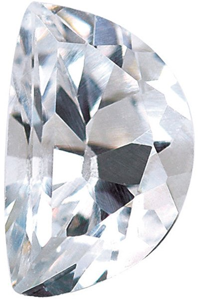 Genuine Colorless Cubic Zirconia Gemstone in Half Moon Shape Sized 5.50 x 0.50 mm