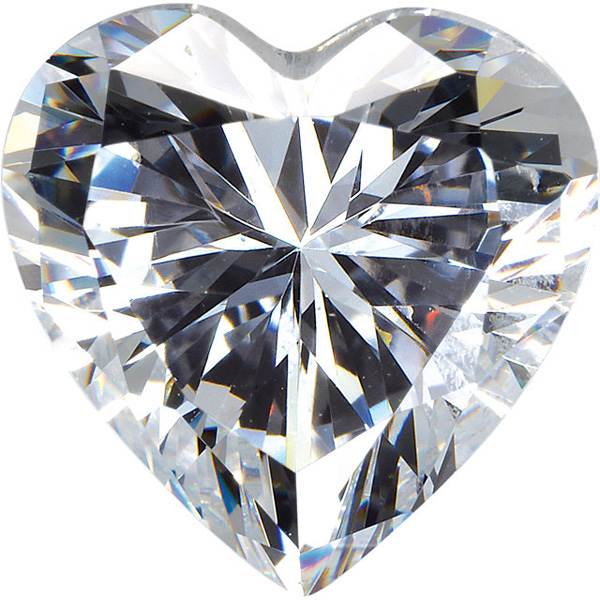 Genuine Colorless Cubic Zirconia Gemstone in Heart Shape Sized 7.00 mm