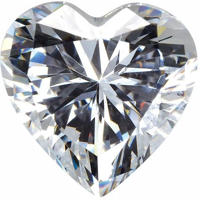 White Cubic Zirconia Heart Cut Stones