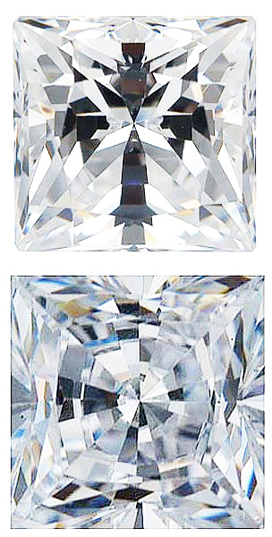 WHITE CUBIC ZIRCONIA Princess Cut Gems