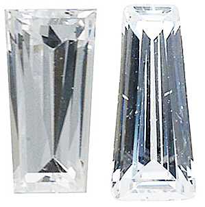 WHITE CUBIC ZIRCONIA Tapered Baguette Cut Gems