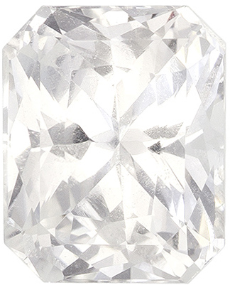 White Radiant Sapphire GIA Loose Gem in Colorless White, 7.07 x 5.7mm, 1.69 carats - With GIA Certificate