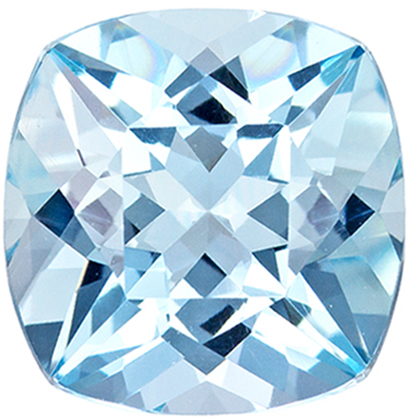 Wonderful Aquamarine Gemstone in Cushion Cut, Medium Blue, 9 x 8.9 mm, 2.7 carats