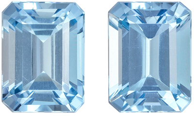 Wonderful Aquamarine Well Matched Gem Pair in Emerald Cut, 2.81 carats, Rich Sky Blue, 2.81 carats, 8 x 6 mm