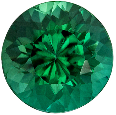 Wonderful Blue Green Tourmaline Genuine Gemstone in Round Cut, 7.4 mm, Rich Blue Green, 1.73 carats