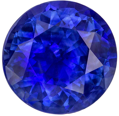 Wonderful Blue Sapphire Genuine Gemstone, Round Cut, Intense Rich Blue, 7 mm, 1.59 carats