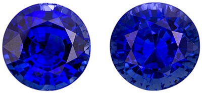 Wonderful Blue Sapphire Well Matched Pair, Round Cut, Vivid Medium Blue, 7.3 mm, 4.57 carats