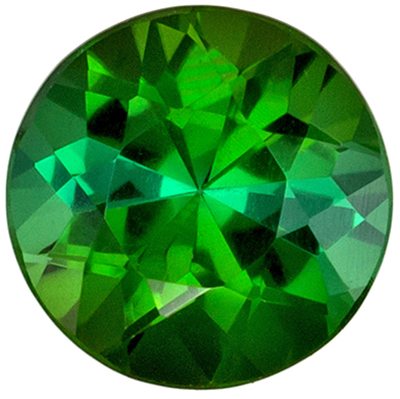Wonderful Green Tourmaline Loose Gem in Round Cut, 5.5 mm, Rich Grass Green, 0.7 carats