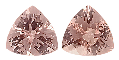 Wonderful Pair of Fantastic Large Morganite Matched Gemstones, Trillion Cut, 11.3 x 11.3 mm, 8.40 carats