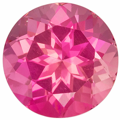 Wonderful Pink Tourmaline Genuine Gemstone in Round Cut, 7.9 mm, Rosey Pink, 2.02 carats