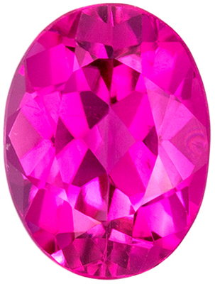 Wonderful Pink Tourmaline Loose Gem in Oval Cut, 7.9 x 5.9 mm, Rich Hot Pink, 1.3 carats