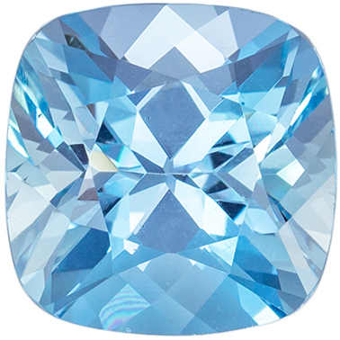 Wonderful Rare Aquamarine Cushion Cut Genuine Gem, Rich Sky Blue, 7.7 mm, 1.79 carats