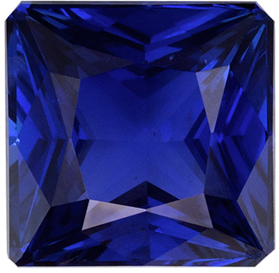 Wonderful Rare Blue Sapphire Loose Gem, 6.9 x 6.8 mm, Intense Rich Blue, Princess Cut, 2.13 carats