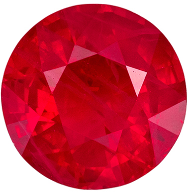Wonderful Ruby Round Cut Loose Gemstone Rich Pure Red, 6.3 mm, 1.14 carats