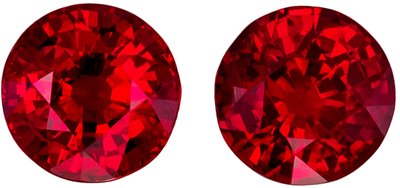 Wonderful Ruby Well Matched Pair, 5 mm, Open Rich Red, Round Cut, 1.32 carats