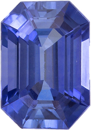 Wonderful Sapphire Loose Gem in Emerald Cut, Pure Medium Blue, 7 x 4.9 mm, 1.09 Carats