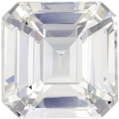 Wonderful White Sapphire Loose Gem, Emerald Cut, Colorless White, 6.1 mm, 1.55 carats