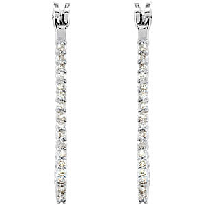 Wow! Amazing 1/4 ct Diamond Studded Platinum Hoop Earrings - Choose Your Size