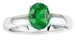 Stunning Solitaire 1.1 carat 8x6mm Oval Cut Genuine Tsavorite Garnet GEM Grade in Heavy Gold Ring for SALE
