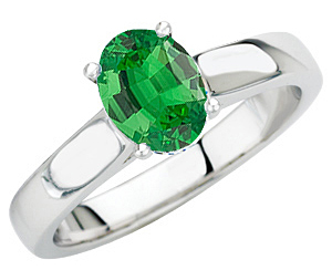 Low Price on Solitaire 1.1 carat 8x6mm Oval Cut Genuine Tsavorite Garnet GEM Grade in Heavy Gold Ring for SALE
