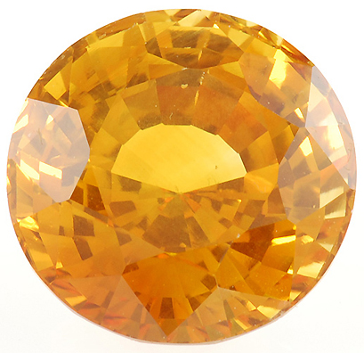 Special Large Golden Sapphire Gemstone 10.28 carats, Round Cut