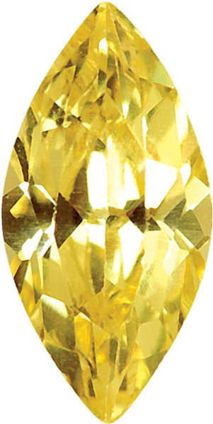 Loose Quality Faceted Yellow Cubic Zirconia Gem in Marquise Shape Gemstone Sized 6.00 x 3.00 mm