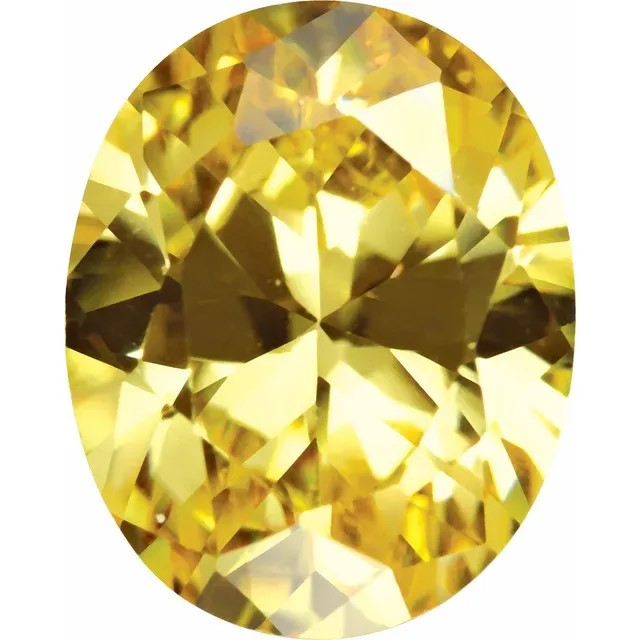 Yellow Cubic Zirconia Oval Cut Stones