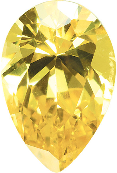 Yellow Cubic Zirconia Pear Cut Stones