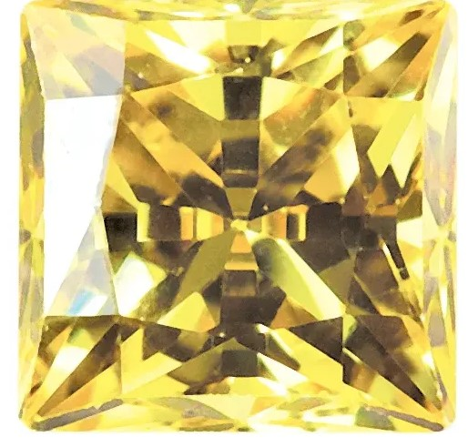 Yellow Cubic Zirconia Swarovski Princess Cut Stones
