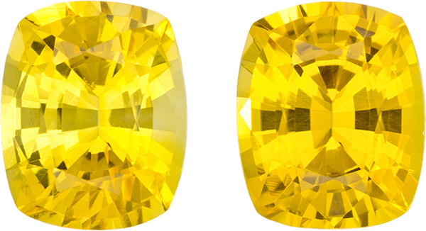 Yellow Matched Pair Sapphires in Cushion Cut, Pure Yellow Color in 4.8 x 4 mm, 0.94 Carats