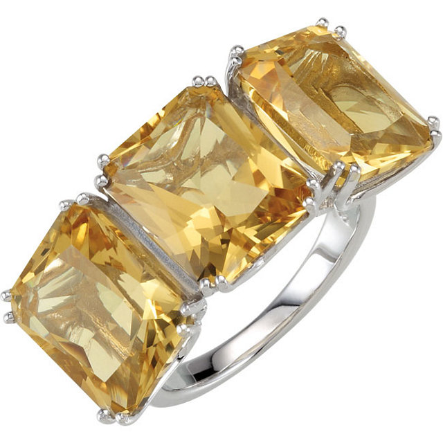 Gorgeous Yellow Quartz 3-Stone Ring