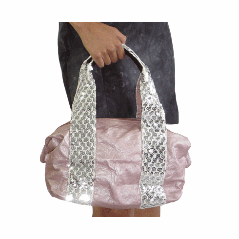 Bagtique Rose Leather Sequined Doctor's Bag